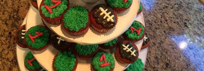 Football cupcakes and smash cake